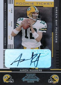 2005 Playoff Contenders Rookie Ticket Autographs Aaron Rodgers 214x300 Image