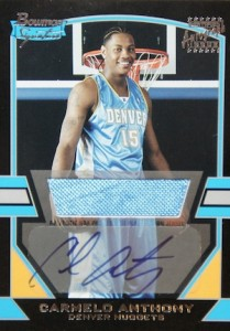 2003 04 Bowman Signature Edition Carmelo Anthony RC 77 Autographed Jersey 1170 209x300 Image