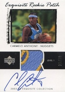 2003 04 Exquisite Collection Carmelo Anthony RC 76 Autographed Jersey 99  214x300 Image