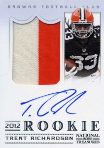 2012 Panini National Treasures Football Rookie Signature Materials 303 Trent Richardson 211x300 Image