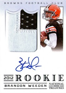 2012 Panini National Treasures Football Rookie Signature Materials 306 Brandon Weeden 212x300 Image