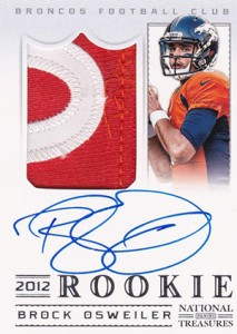 2012 Panini National Treasures Football Rookie Signature Materials 307 Brock Osweiler 213x300 Image