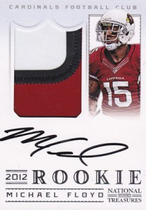 2012 Panini National Treasures Football Rookie Signature Materials 308 Michael Floyd 208x300 Image