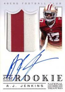 2012 Panini National Treasures Football Rookie Signature Materials 310 AJ Jenkins 212x300 Image