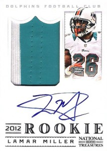 2012 Panini National Treasures Football Rookie Signature Materials 312 Lamar Miller 213x300 Image