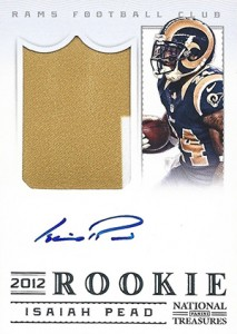 2012 Panini National Treasures Football Rookie Signature Materials 313 Isaiah Pead 213x300 Image