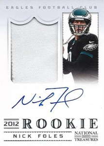 2012 Panini National Treasures Football Rookie Signature Materials 318 Nick Foles 214x300 Image