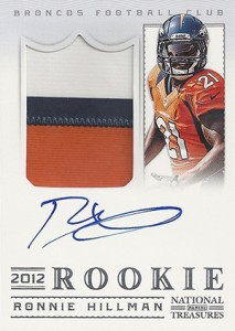 2012 Panini National Treasures Football Rookie Signature Materials 324 Ronnie Hillman 213x300 Image