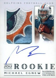 2012 Panini National Treasures Football Rookie Signature Materials 326 Michael Egnew 215x300 Image