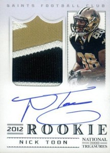 2012 Panini National Treasures Football Rookie Signature Materials 330 Nick Toon 216x300 Image