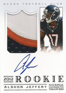 2012 Panini National Treasures Football Rookie Signature Materials 335 Alshon Jeffery 214x300 Image