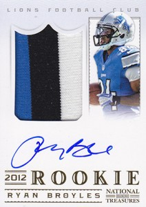 2012 Panini National Treasures Football Rookie Signature Materials Ryan Broyles Gold 212x300 Image