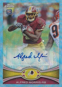 2012 Tops Chrome Football Blue Wave Refractor BWA AM Alfred Morris1 214x300 Image
