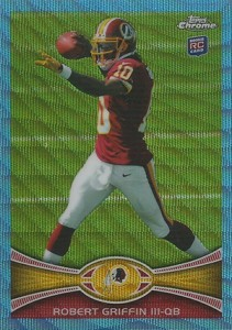 2012 Tops Chrome Football Blue Wave Refractor Robert Griffin III 211x300 Image