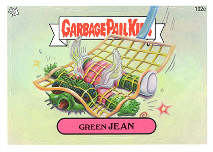 2013 Topps Garbage Pail Kids Brand New Series 2 102c Green Jean Image