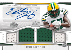 2013 Topps Prime Football Autographed Quad Relic Eddie Lacy Image