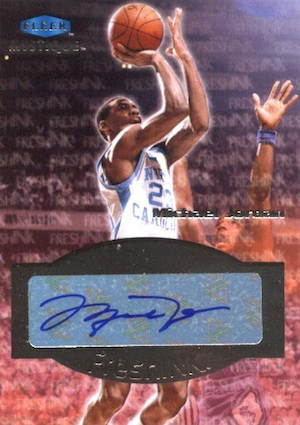 2012 13 Fleer Retro Fresh Ink Fleer Mystique Autograph Michael Jordan Image