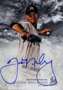 2013 Bowman Inception Prospect Autographs Justin Nicolino 212x300 Image