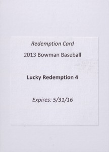 2013 Bowman Lucky Redemption 4 Yasiel Puig 216x300 Image