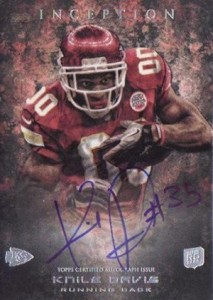 2013 Topps Inception Football Rookie Autographs 138 Knile Davis 213x300 Image