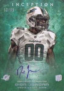 2013 Topps Inception Football Rookie Autographs 141 Dion Jordan 99 210x300 Image