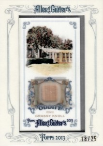 2013 Allen Ginter Baseball Oddity Relics Grassy Knoll  213x300 Image