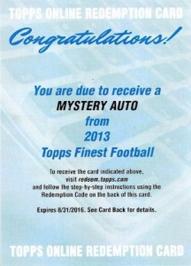 2013 Topps Finest Football Mystery Autograph Redemption 216x300 Image