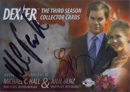 2010 Breygent Dexter Season 3 Autographs Michael C. Hall as Dexter Morgan and Julie Benz as Rita Bennett