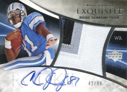 2007 Exquisite Collection Calvin Johnson RC 130 Autographed Jersey  Image
