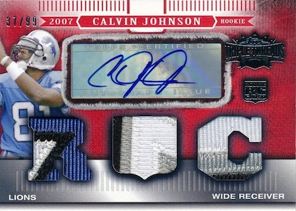 2007 Topps Triple Threads Calvin Johnson RC 140 Autographed Jersey  Image