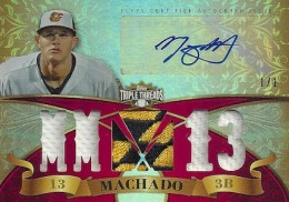 2013 Topps Triple Threads Baseball Autographed Jersey Patch Ruby Parallel Manny Machado 260x182 Image