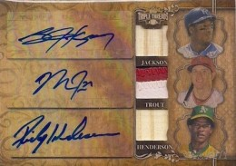 2013 Topps Triple Threads Baseball Autographed Relic Combos Wood Parallel Trout Henderson Jackson 260x183 Image