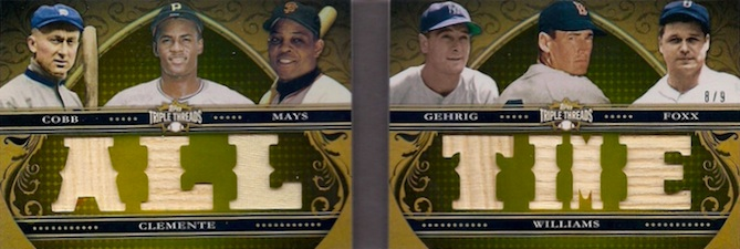 2013 Topps Triple Threads Baseball Double Combos Relics Clemente Mays Cobb Foxx Gehrig Image