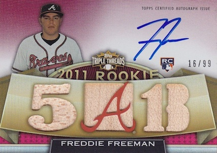 2011 Topps Triple Threads Freedie Freeman 123 Autographed Bat Image
