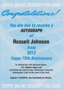 2013 Topps 75th Anniversary Autographs Russell Johnson Redemption 213x300 Image