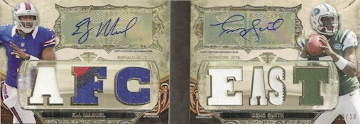 2013 Topps Triple Threads Football Autographed Relics Pairs Book Smith Manuel Image