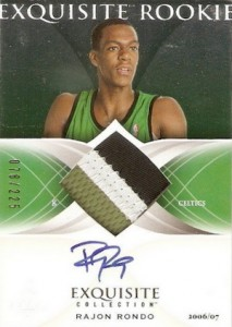 2006 07 Exquisite Collection Rajon Rondo RC 60 Autographed Jersey  213x300 Image