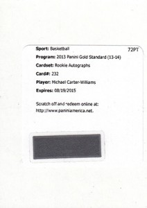 2013 14 Panini Gold Standard Rookie Autograph Jersey 232 Michael Carter Williams Redemption 212x300 Image