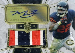 2013 Topps Supreme Football Autographed Jumbo Patch Relics Matt Forte Image