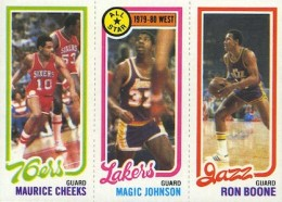 1980-81 Topps Basketball #178 Maurice Cheeks, #18 Magic Johnson, #237 Ron Boone