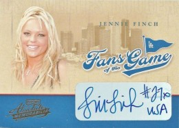 2004 Absolute Memorabilia Fans of the Game Jennie Finch Autograph