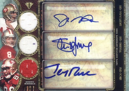 2013 Topps Triple Threads Triple Relic Autograph Joe Montana Steve Young Jerry Rice Image
