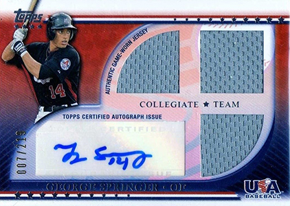 2010 Topps USA Baseball Auto Triple Relic George Springer Image