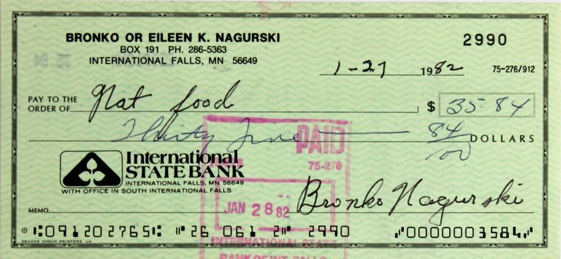 Bronko Nagurski Signed Check Large
