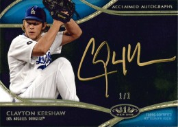 2014 Topps Tier One Acclaimed Autographs Gold Clayton Kershaw 260x185 Image