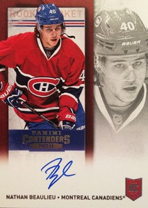 2013-14 Panini Contenders Hockey Rookie Ticket Autograph Variation 242 Nathan Beaulieu