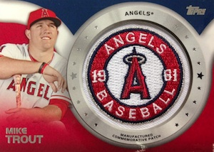 2014 Topps Series 2 Baseball Manufactured Commemorative Patch Mike Trout