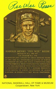 Pee Wee Reese Signed HOF Plaque card