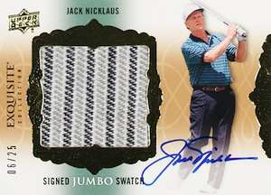 2014 Upper Deck Exquisite Golf Signed Jumbo Swatch Jack Nicklaus
