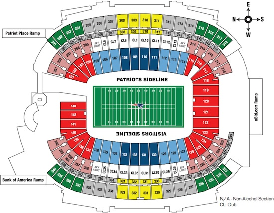 New England Patriots Gillette Stadium Seating Guide